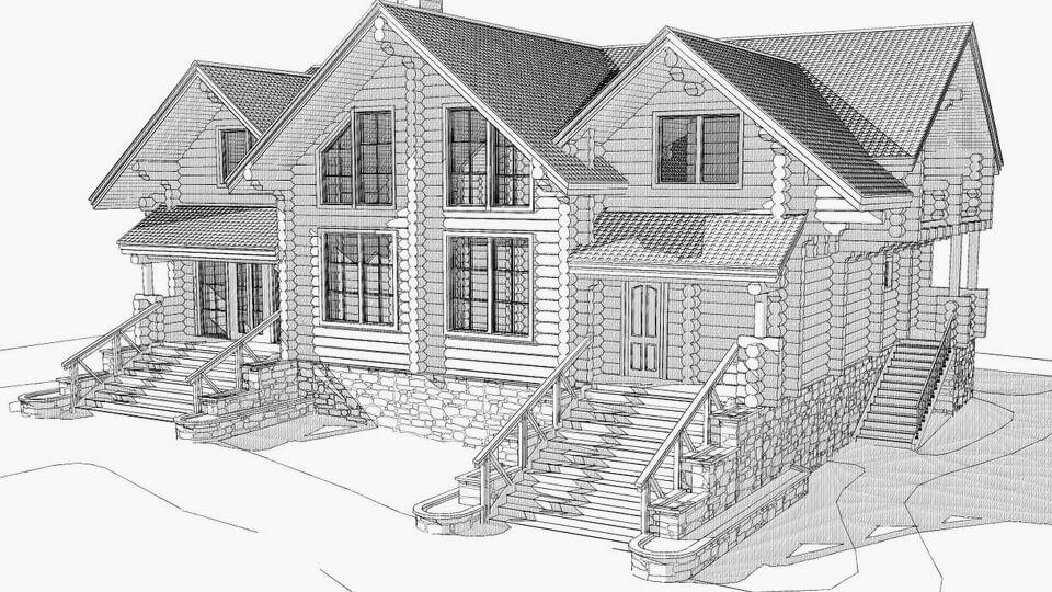 Вариант типового проекта загородного дома учитывает все особенности местности. То есть может использоваться для любого варианта рельефа местности.